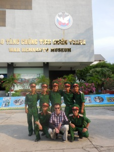 Matt with some of the young Vietnamese soldiers