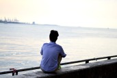 Enjoying the view at Tamsui, Taiwan